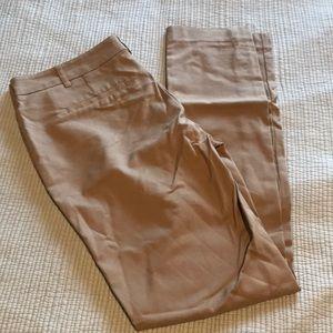 Khaki straight leg trousers